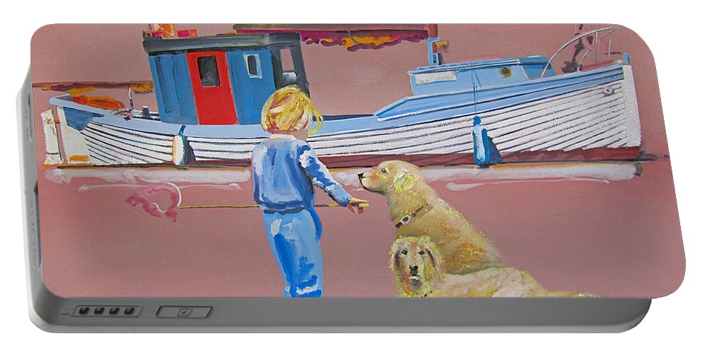 Girl Portable Battery Charger featuring the painting Golden Retrievers Walberswick by Charles Stuart