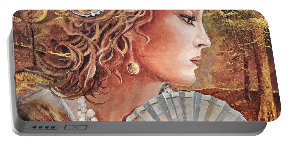 Female Portrait Portable Battery Charger featuring the painting Golden Wood by Sinisa Saratlic