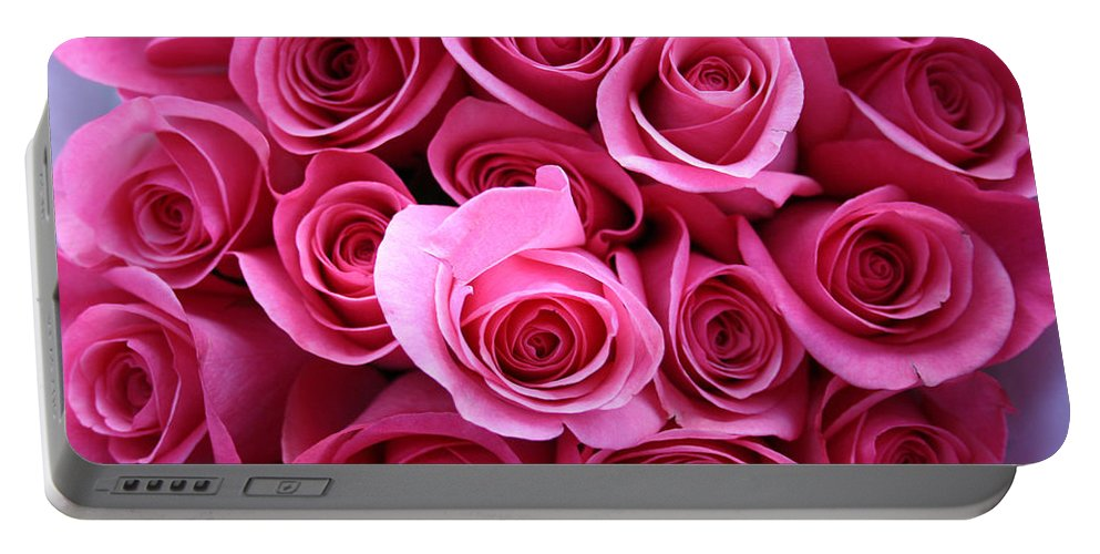Pink Roses Portable Battery Charger featuring the photograph Grandma Roses by Linda Sannuti