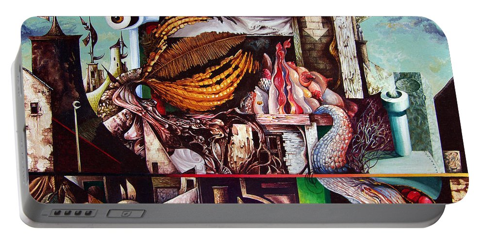 Surrealism Portable Battery Charger featuring the painting Grey Day At The Factory by Otto Rapp