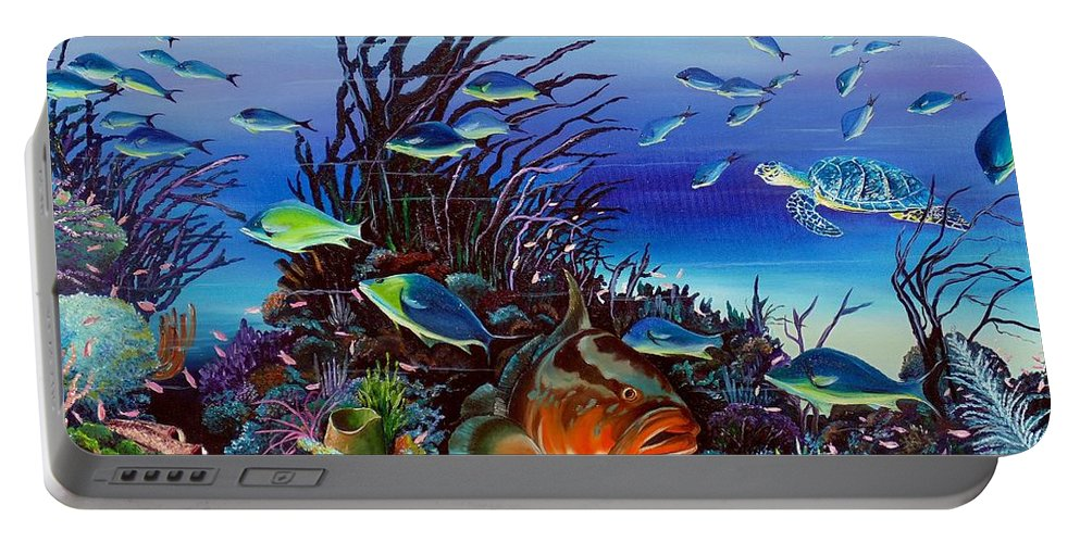 Ocean Painting Caribbean Painting Underwater Painting Coral Reef Painting Portable Battery Charger featuring the painting Grumpy Grouper by Karin Dawn Kelshall- Best
