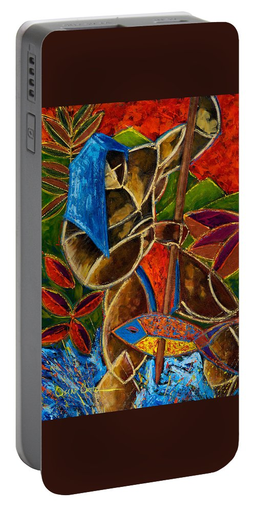 Puerto Rico Portable Battery Charger featuring the painting Guarani... hombre de familia by Oscar Ortiz