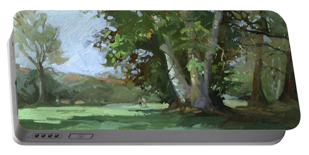 Golf Courses Portable Battery Charger featuring the painting Guardian of the Green by Betty Jean Billups
