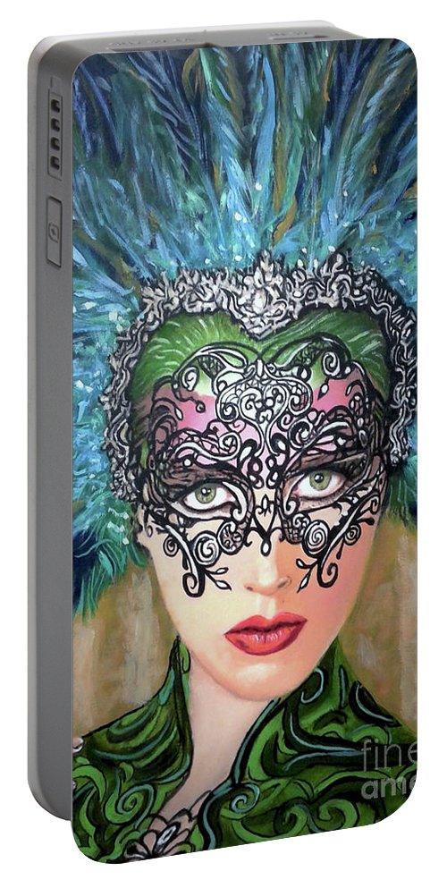 Party Portable Battery Charger featuring the painting Guess by Jose Manuel Abraham
