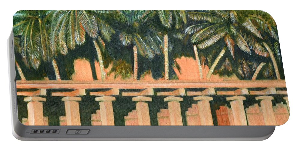 Hampi Portable Battery Charger featuring the painting Hampi Pillars by Usha Shantharam