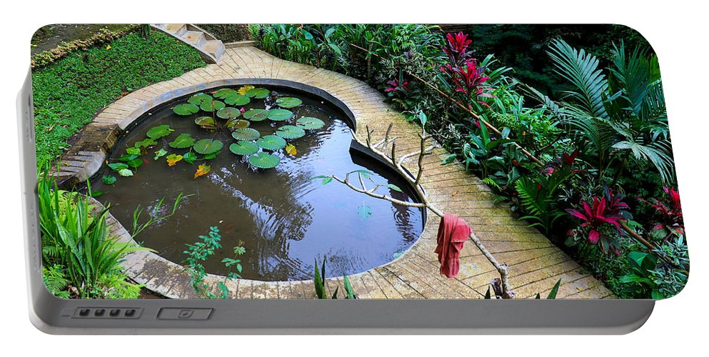 Heart Portable Battery Charger featuring the digital art Heart-shaped pond with water lilies by Worldvibes1
