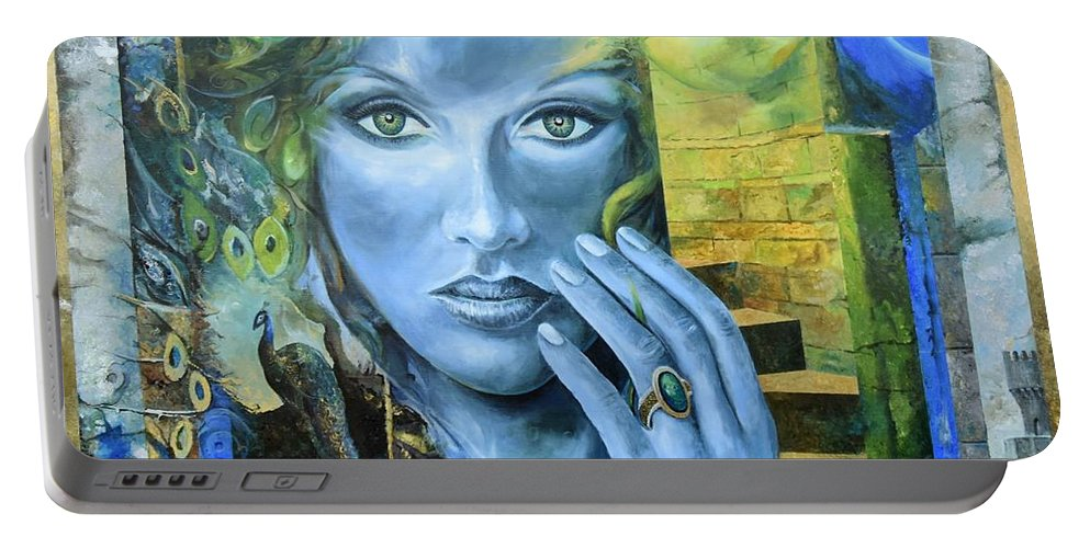 Portrait Portable Battery Charger featuring the painting Heavenly Garden by Sinisa Saratlic