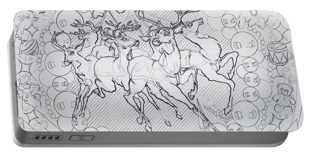 Charcoal Pencil Portable Battery Charger featuring the drawing His Courses They Came by Sean Connolly