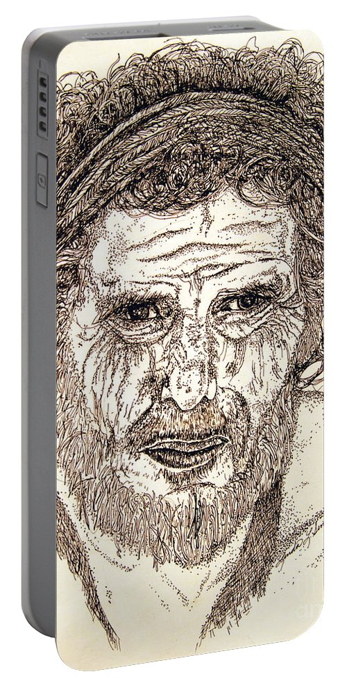 Man Portable Battery Charger featuring the drawing Hobo by Linda Simon