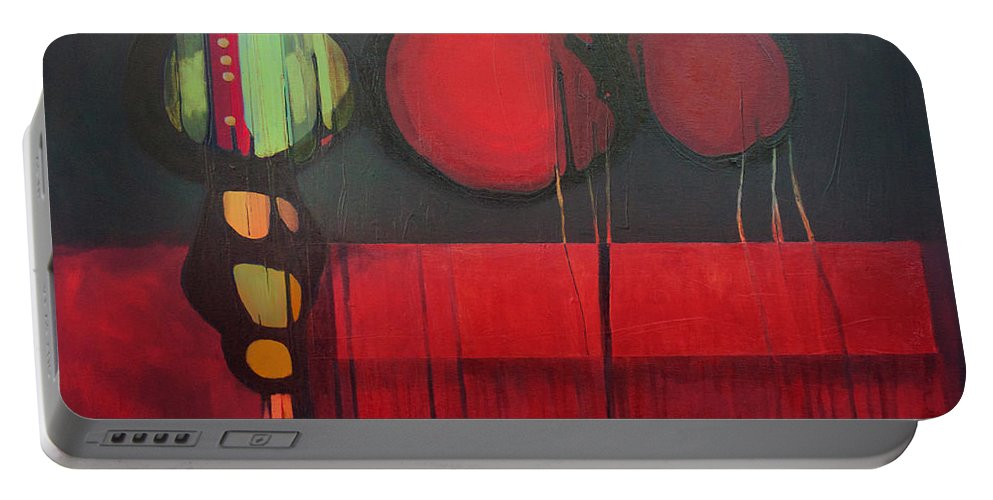 Abstract Portable Battery Charger featuring the painting Hot Mass by Marlene Burns