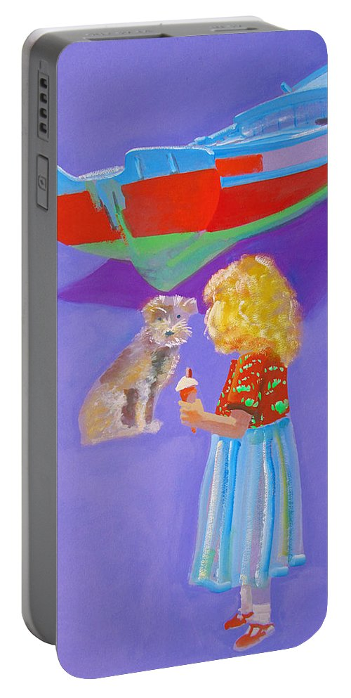 Girl Portable Battery Charger featuring the painting Ice Cream by Charles Stuart