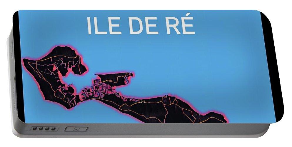 Ile De Re Portable Battery Charger featuring the digital art Ile de Re Map by HELGE Art Gallery