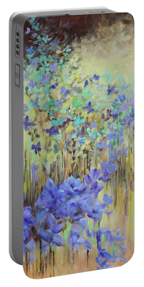 Iris Portable Battery Charger featuring the painting In Flight by Jo Smoley