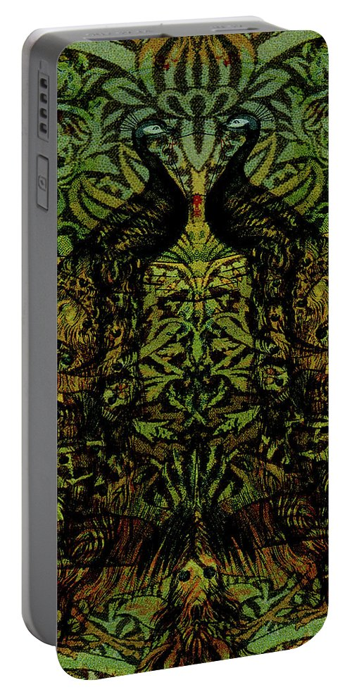 Peafowls Portable Battery Charger featuring the digital art Indian Blue Peafowl Pattern by Sarah Vernon