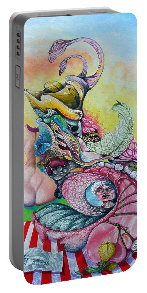 Portable Battery Charger featuring the painting Inside Out by Otto Rapp