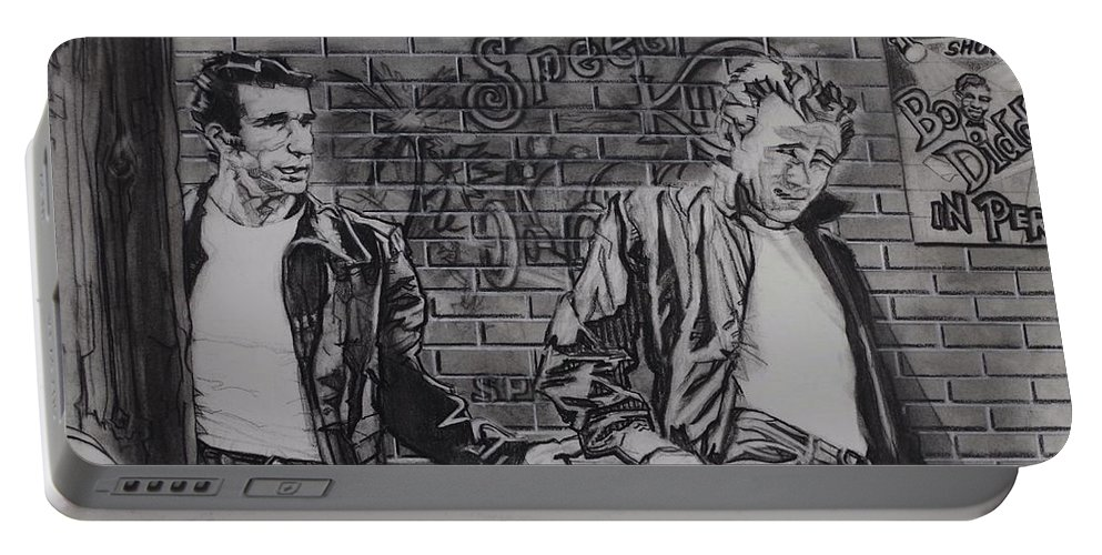 Charcoal On Paper Portable Battery Charger featuring the drawing James Dean Meets The Fonz by Sean Connolly