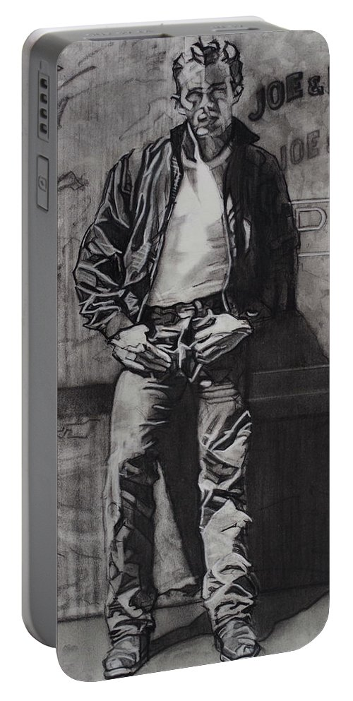Charcoal Pencil On Paper Portable Battery Charger featuring the drawing James Dean by Sean Connolly