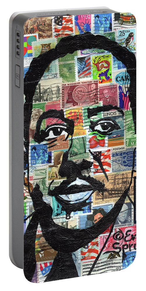 African Mask Portable Battery Charger featuring the mixed media James Mercer Langston Hughes by Everett Spruill
