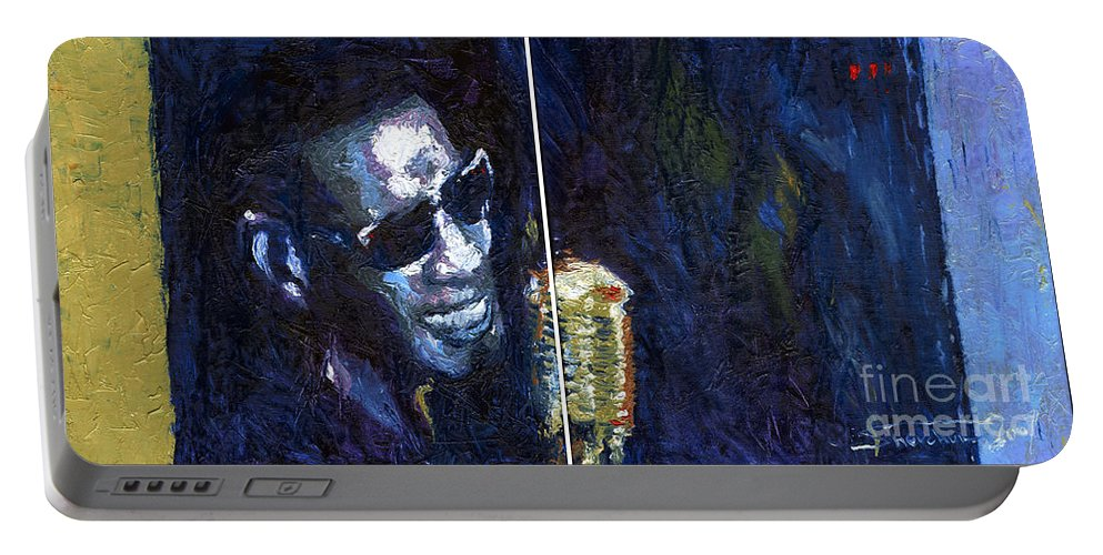 Jazz Portable Battery Charger featuring the painting Jazz Ray Charles Song by Yuriy Shevchuk
