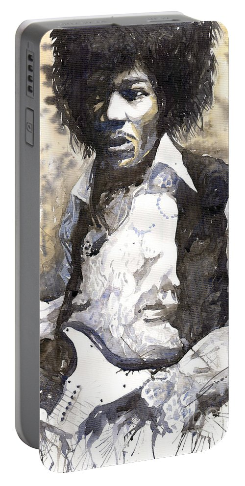 Jazz Portable Battery Charger featuring the painting Jazz Rock Jimi Hendrix 04 by Yuriy Shevchuk