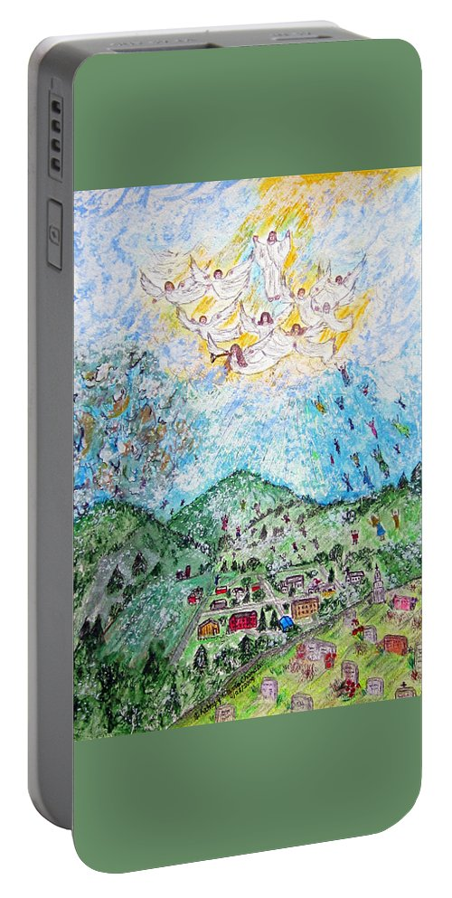 Jesus Portable Battery Charger featuring the painting Jesus Returns by Kathy Marrs Chandler