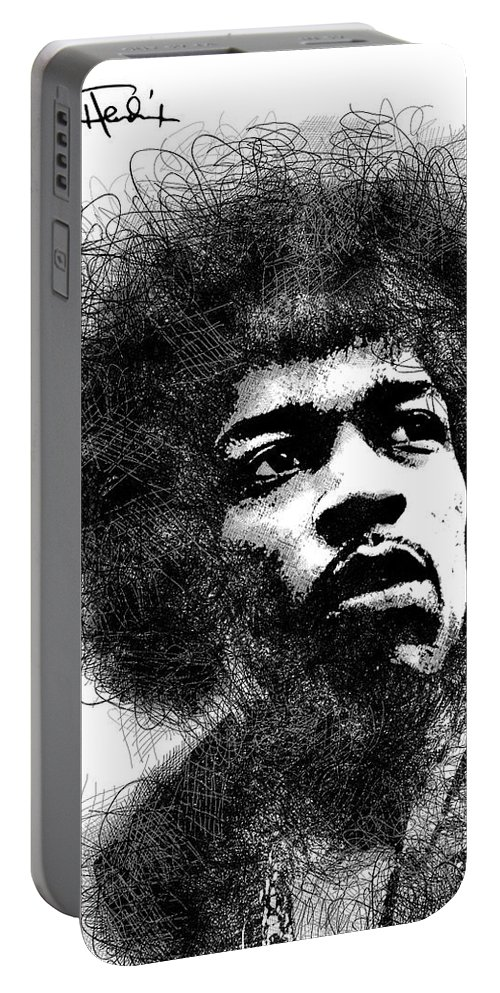 Jimi Hendrix Portable Battery Charger featuring the digital art Jimi Hendrix scribbles portrait by Mihaela Pater
