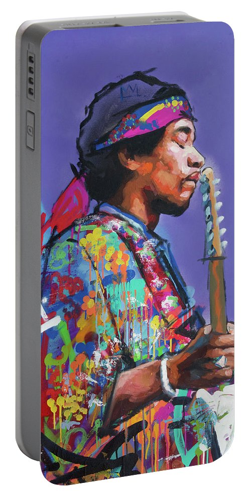 Jimi Portable Battery Charger featuring the painting Jimi Hendrix V by Richard Day