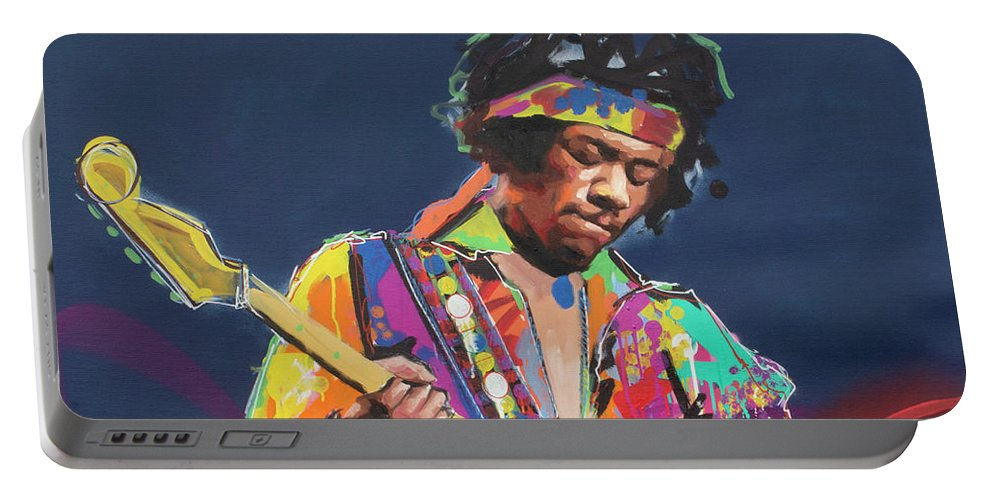 Jimi Portable Battery Charger featuring the painting Jimi Hendrix VI by Richard Day