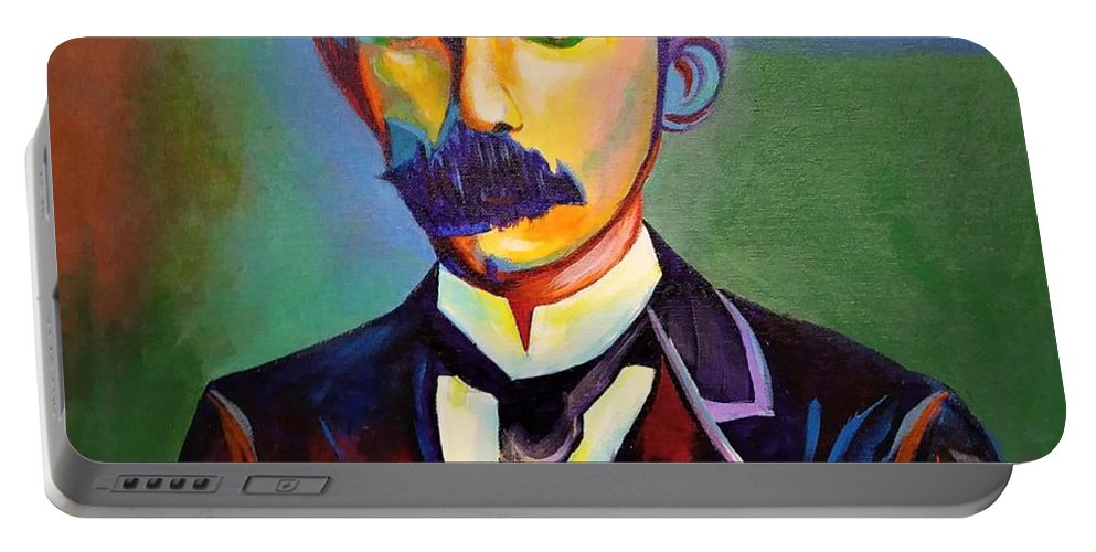 Cuban Art Portable Battery Charger featuring the painting J.Marti by Jose Manuel Abraham