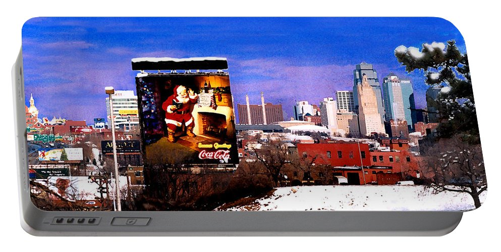 City Portable Battery Charger featuring the photograph Kansas City Skyline at Christmas by Steve Karol