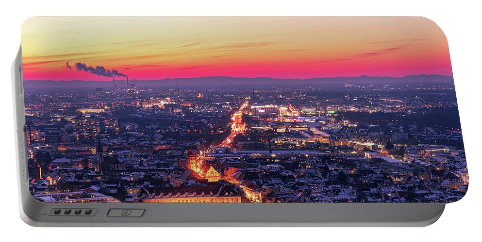 Karlsruhe Portable Battery Charger featuring the photograph Karlsruhe in winter at sunset by Hannes Roeckel