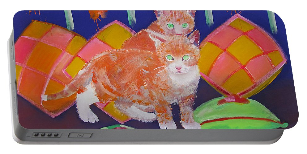 Kittens Portable Battery Charger featuring the painting Kittens With Wild Cushions by Charles Stuart