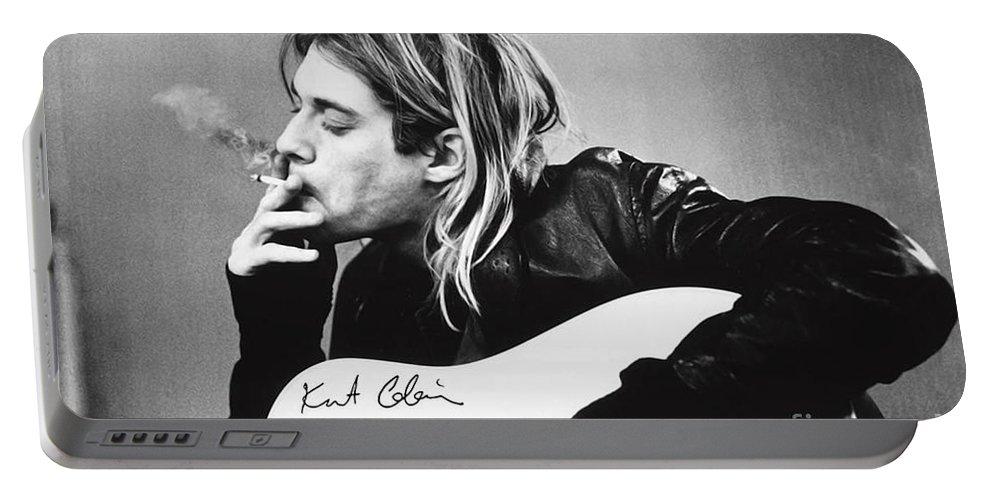 Kurt Cobain Portable Battery Charger featuring the photograph KURT COBAIN - SMOKING POSTER - 24x36 MUSIC GUITAR NIRVANA by Trindira A