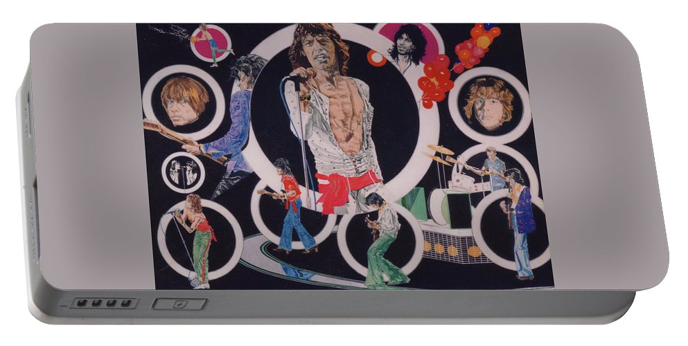 The Rolling Stones Portable Battery Charger featuring the drawing Ladies And Gentlemen - The Rolling Stones by Sean Connolly