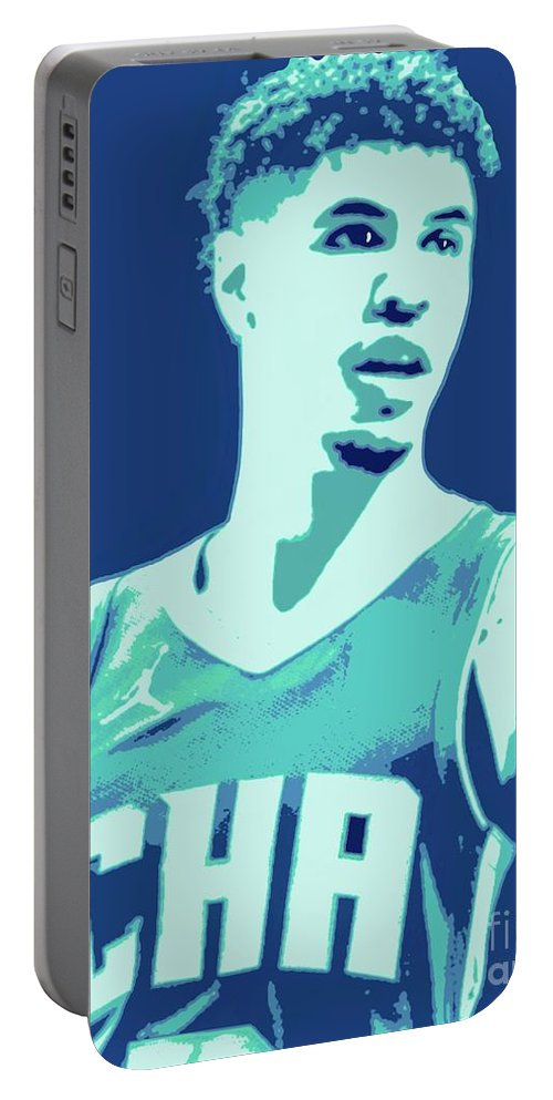 Lamelo Portable Battery Charger featuring the painting LaMelo Ball by Jack Bunds