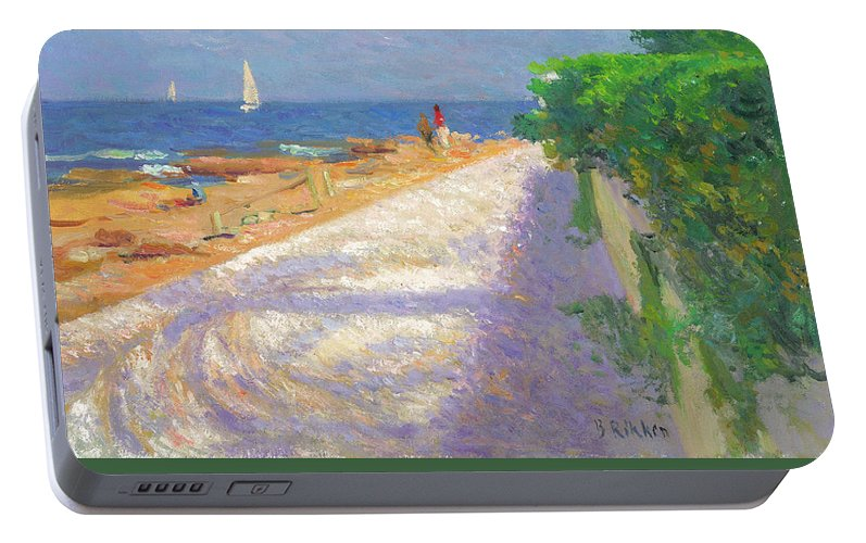 Seascape Portable Battery Charger featuring the painting Les Rotes With Palmtree by Ben Rikken