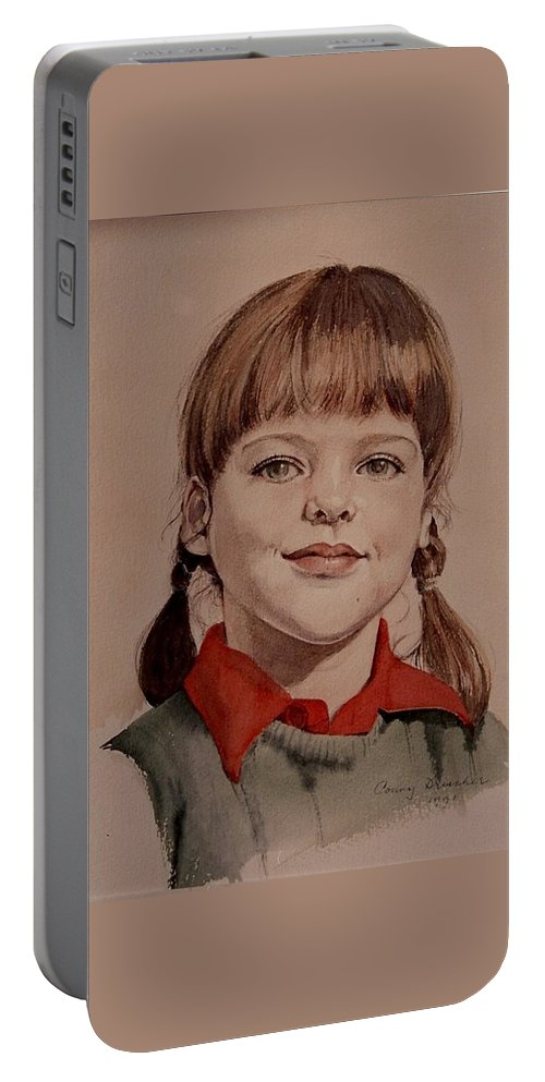 Girl Portable Battery Charger featuring the painting Leslie by Constance Drescher