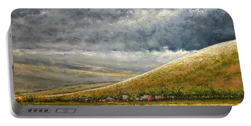 Landscape Portable Battery Charger featuring the painting Lightburst-Jackson Hole by Jim Gola