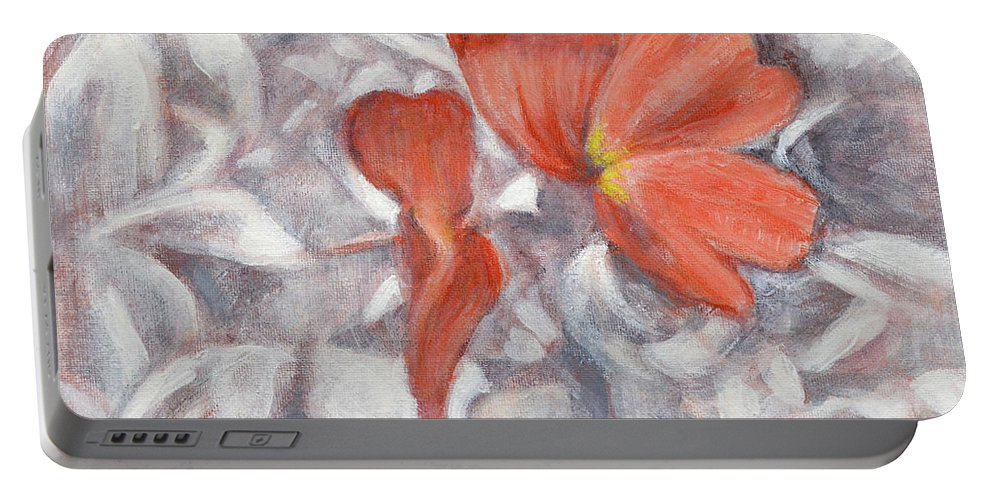 Little Flowers Portable Battery Charger featuring the painting Little Flowers 1 by Usha Shantharam