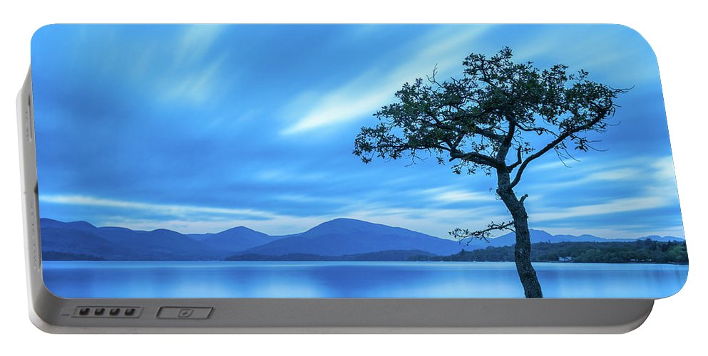 Milarrochy Bay Portable Battery Charger featuring the photograph Lone tree Milarrochy Bay by Janet Burdon