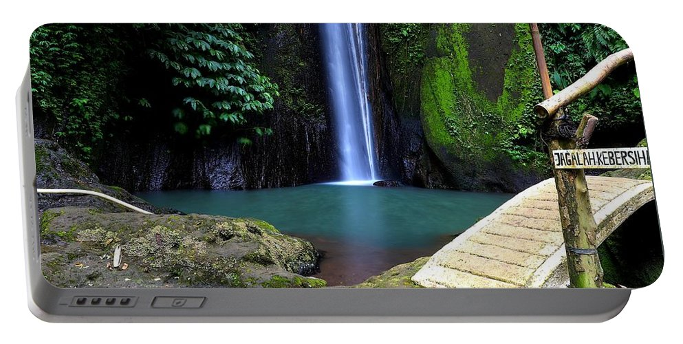 Waterfall Portable Battery Charger featuring the digital art Lonely waterfall by Worldvibes1
