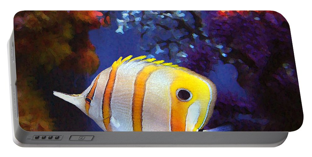 Fish Portable Battery Charger featuring the painting Longnose Butterflyfish by Amy Vangsgard