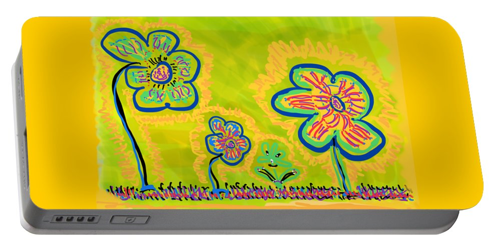 Spring Portable Battery Charger featuring the drawing Looking for Spring by Pam Roth O'Mara