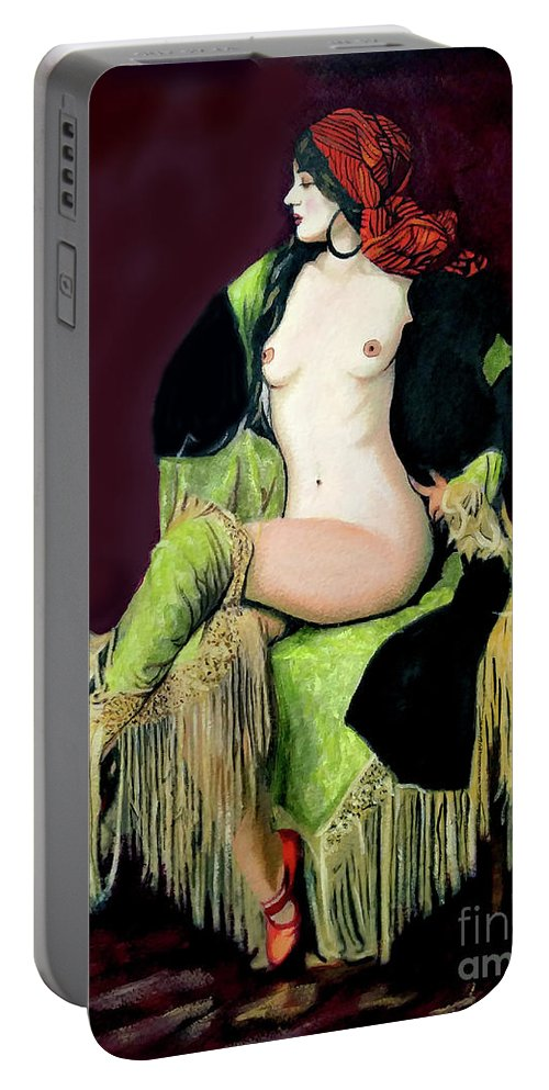 Women Portable Battery Charger featuring the painting Looking Good by Jose Manuel Abraham