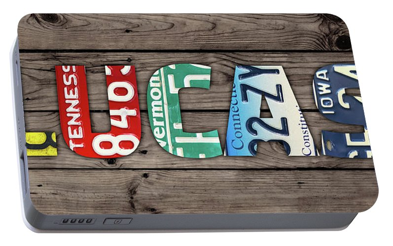 Lucas Portable Battery Charger featuring the mixed media Lucas Name Vintage License Plate Art Lettering Sign by Design Turnpike