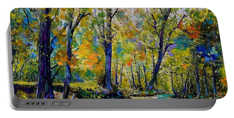 Landscape Portable Battery Charger featuring the painting Magic river by Pol Ledent