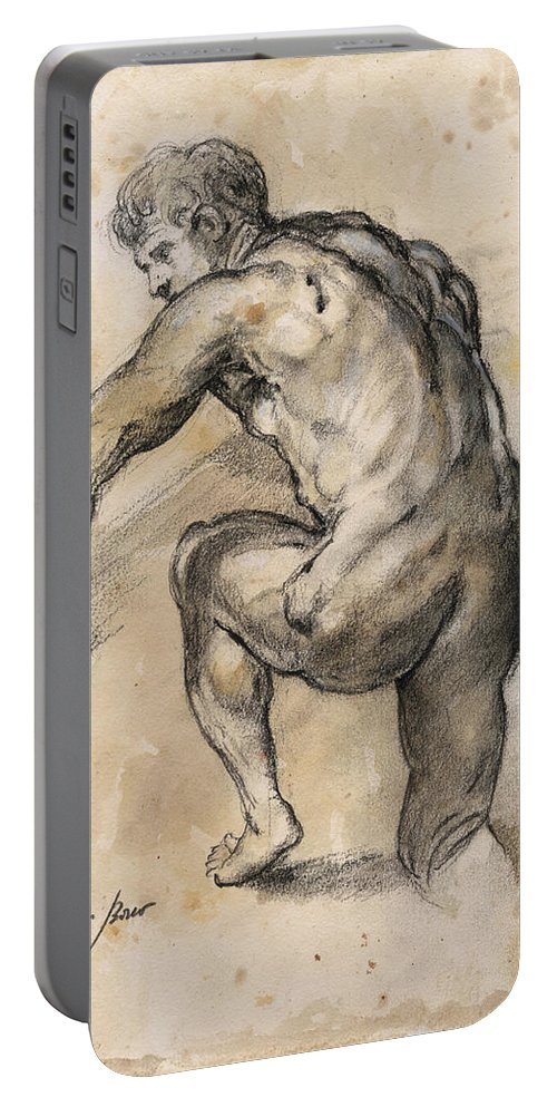 Nude Art Portable Battery Charger featuring the painting Male nude drawing by Juan Bosco