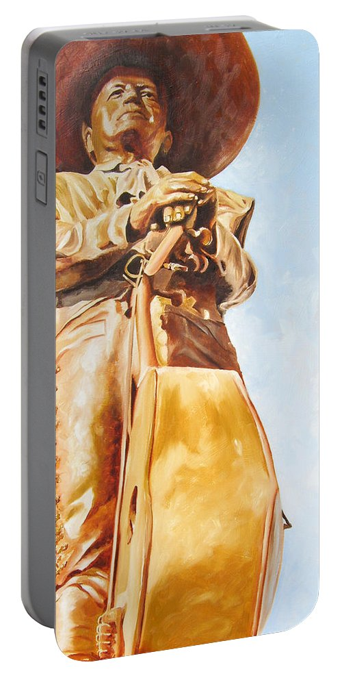 Mariachi Portable Battery Charger featuring the painting Mariachi by Laura Pierre-Louis