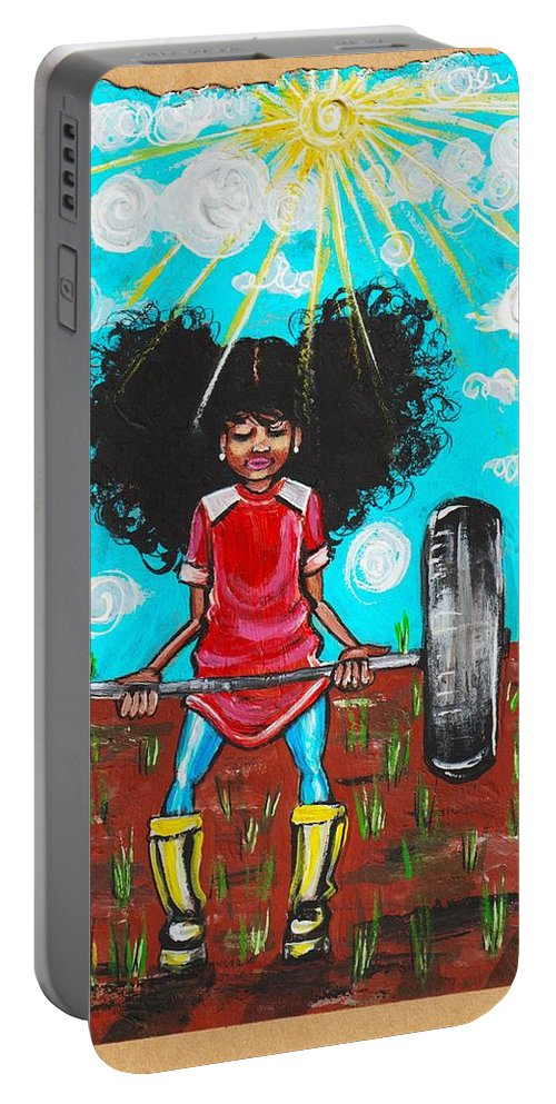 Jehovah Portable Battery Charger featuring the painting Mark 10 vs 27 by Artist RiA
