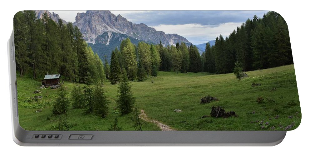 Dolomites Portable Battery Charger featuring the photograph Meadow in the dolomites by Luca Lautenschlaeger